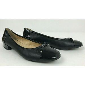 Geox Respira Italian Round Cap Toe Bow Black Shoes